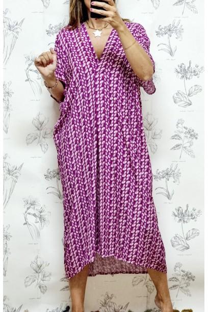 Vestido oversize tipo túnica estampado buganvilla y rosa
