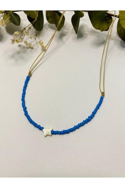 Gargantilla de piedtras de colores azul jean estrella de nacar