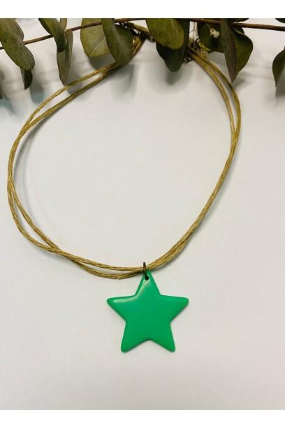 Collar tipo gargantilla star de colores verde