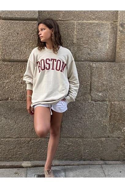 Sudadera Boston oversize  beige