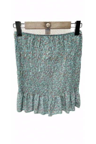 minifalda fruncida de flores verde