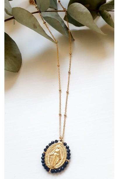 Gargantilla de acero con  la Medallita de la  Milagrosa y piedras negro