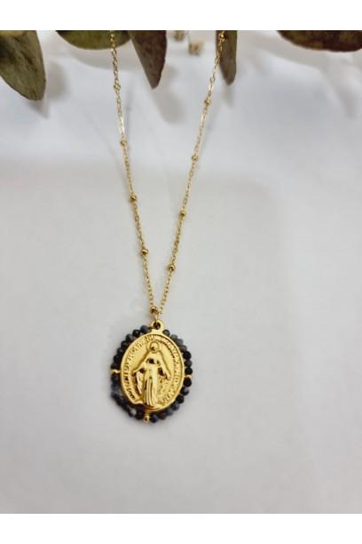 Gargantilla de acero con  la Medallita de la Milagrosa y piedras gris oscuro