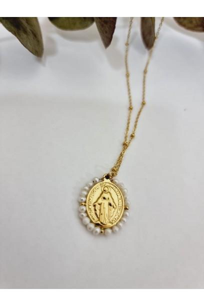 Gargantilla de acero con  la Medallita de la Milagrosa y piedras blancas