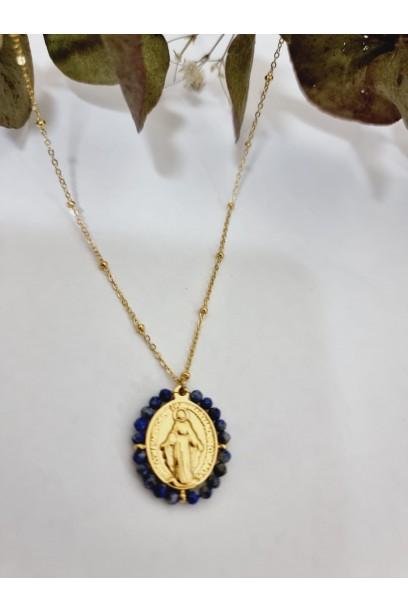Gargantilla de acero con  la Medallita de la  Milagrosa y piedras azul