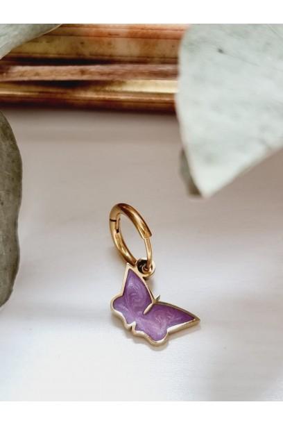 Pendiente aro con mariposa lila