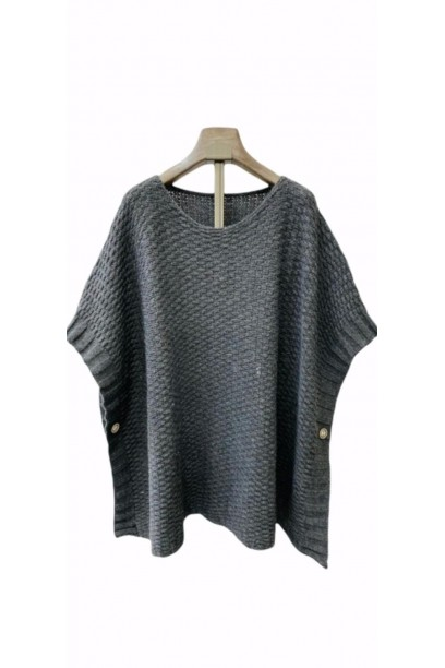 jersey tipo poncho gris oscuro