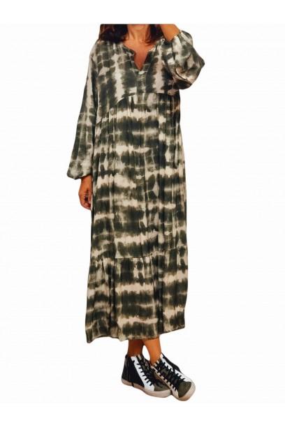 vestido largo oversize verde estampado
