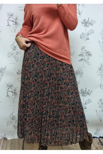 Falda plisada nega  con estampado