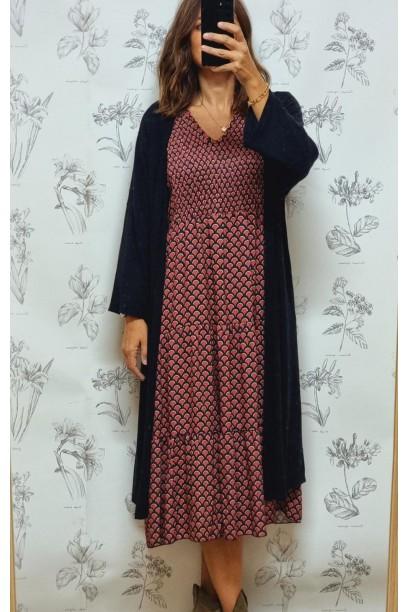Vestido de mujer estampado Art-deco frambuesa