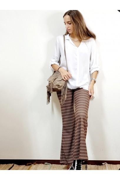 Pantalón estampado camel