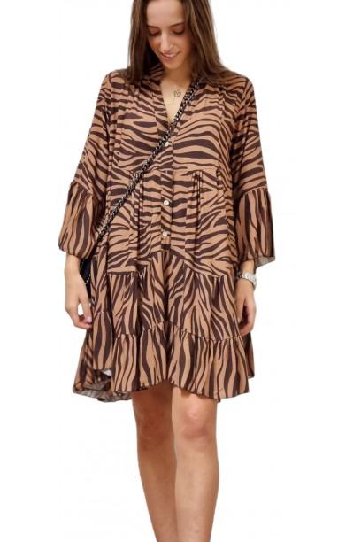 Vestido cebra camel