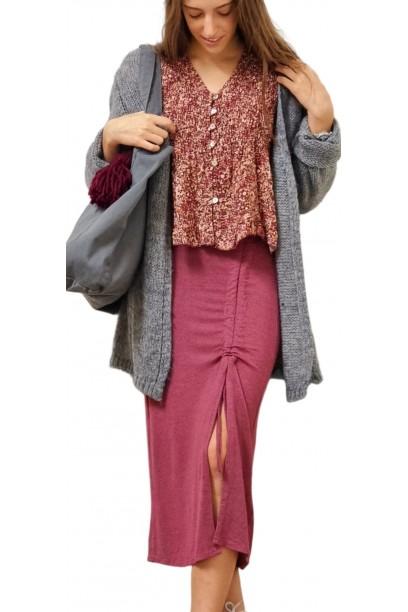 Falda de mujer fruncida fresa