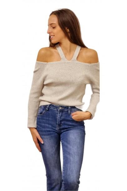 jersey de punto con hombros al aire beige