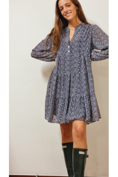 Vestido corto estampado azul marino